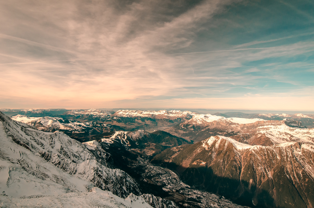The view over the Alps with the sun starting to lower