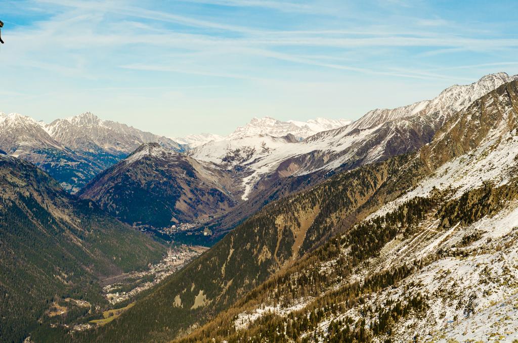 The valleys below the peaks