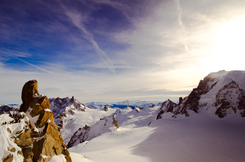 The Mt.Blanc sticking up to the left taken from the top of Aiguille Du Midi