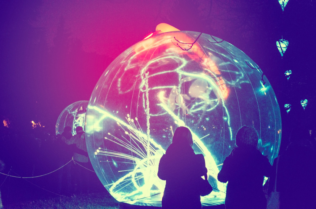 Globes of light at the Jardin D'Hiver