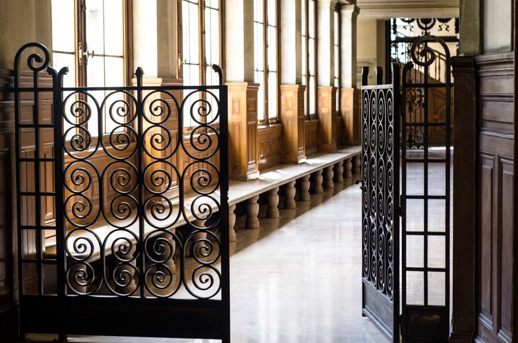 An open gate inside the University