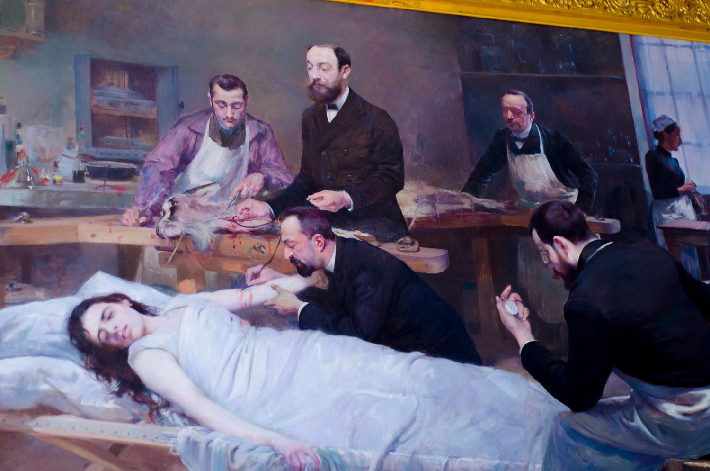 """""""Transfusion de sang de chèvre"""" (1892) by Jules Adler"""