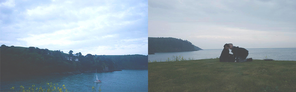 From left: view from the cliffs at night and self portrait on the edge of the cliffs