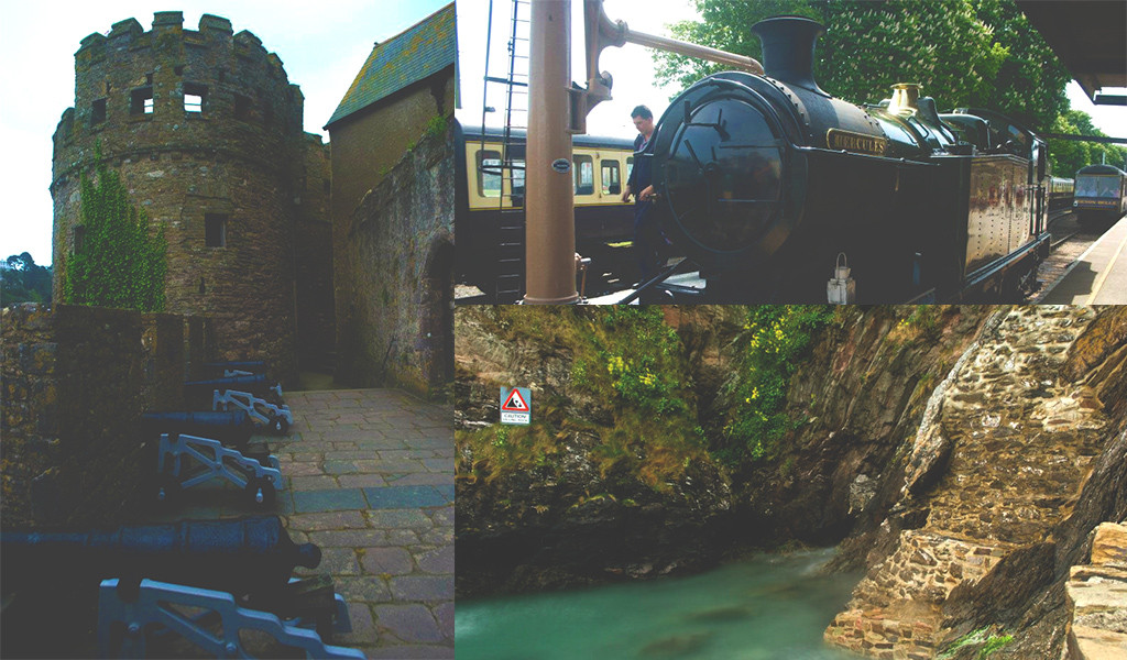 From left: Cannons in Dartmouth Castle, Steam train and the cliffs in the evening