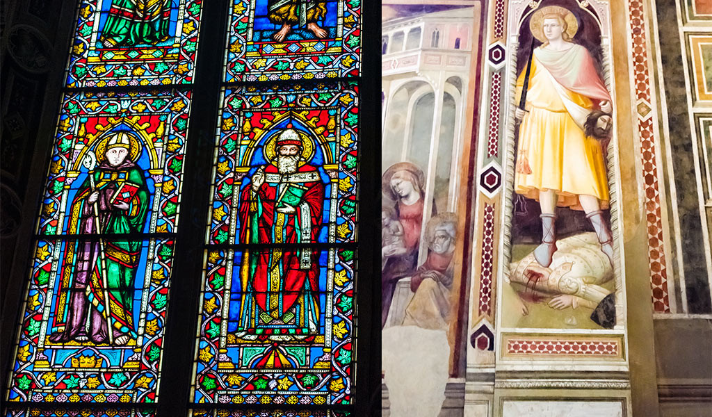 From left: a portion of a stained glass window and a portion of a wall fresco depicting a beaheading