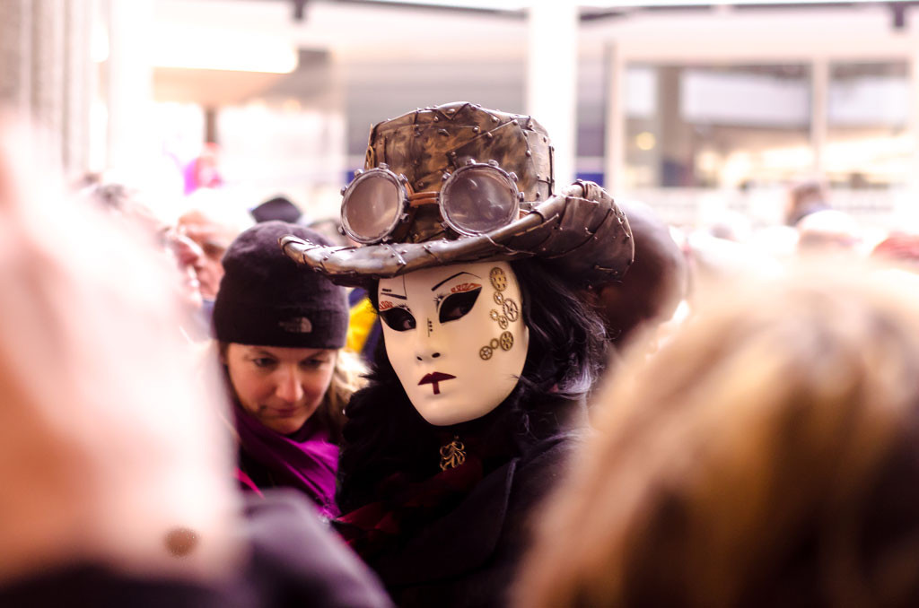 One of the masqueraders inside the Bonlieu