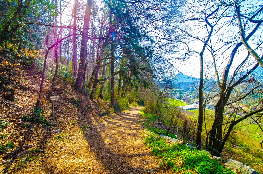 The trail leading from the castle of Menthon-St-Bernard towards Talloires