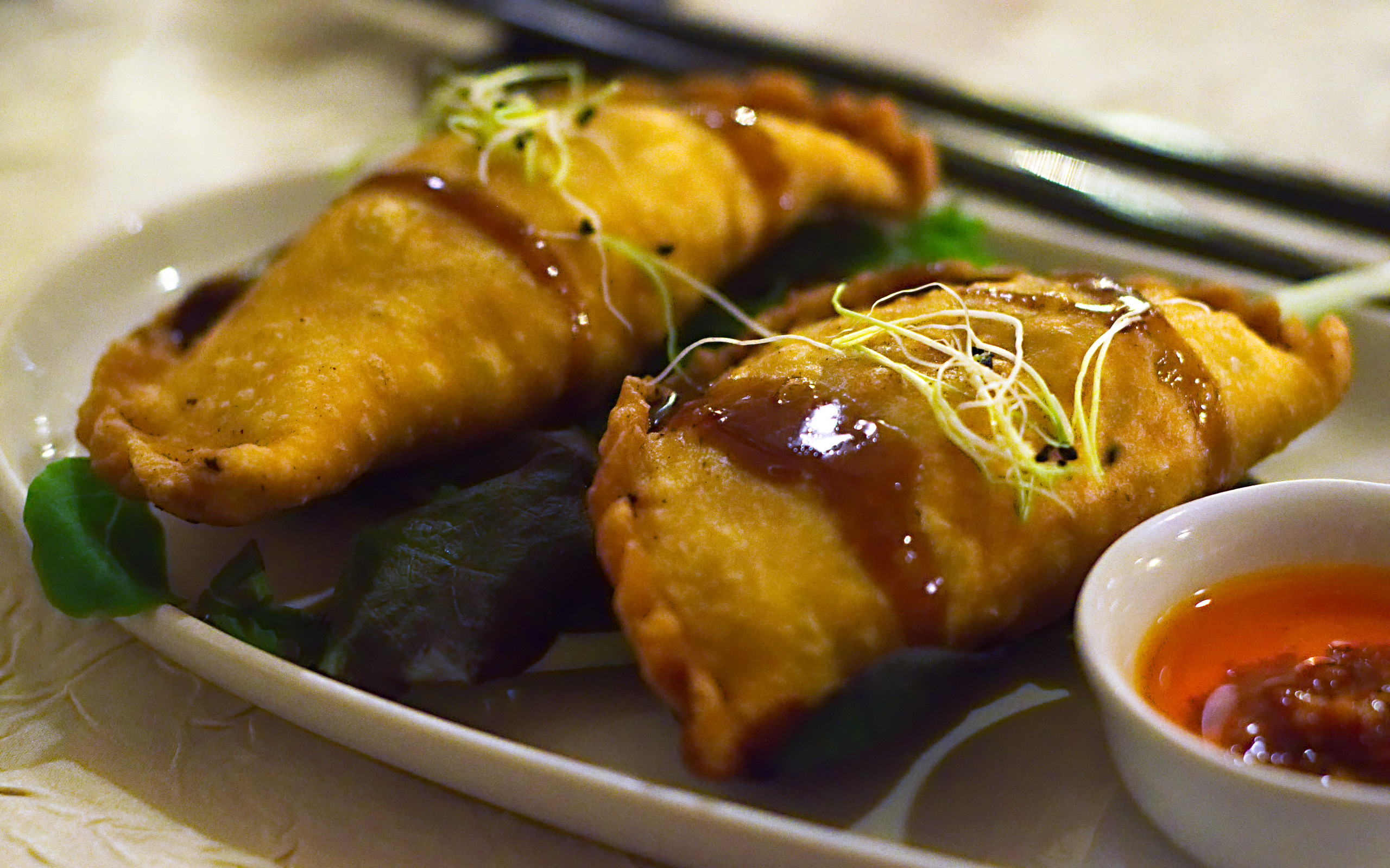 The Momo at Shambhala served with a spicy black bean and chilli oil.